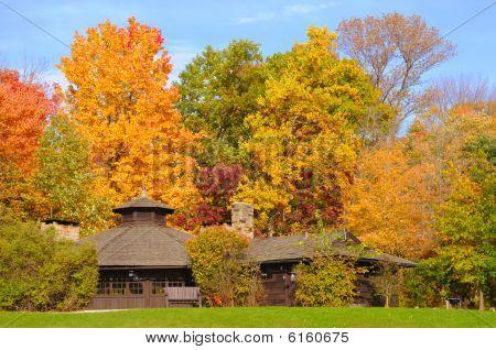 Refugio del parque en otoño