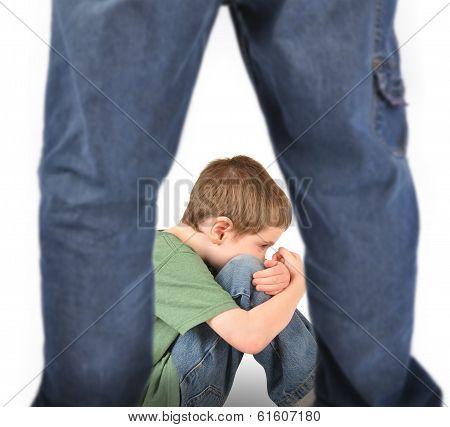 Scared Boy Afraid Of Bully On White