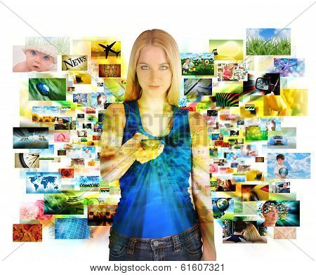 Media Images Girl With Remote Control