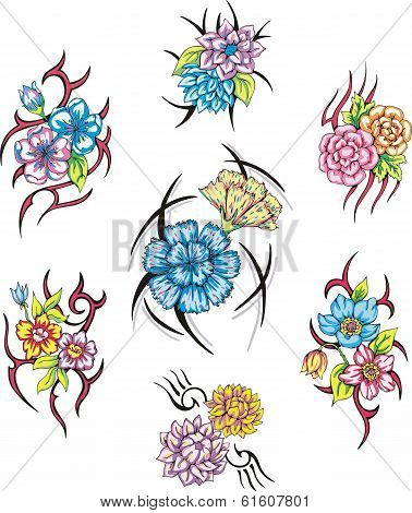 Colorful Tribal Flower Tattoos