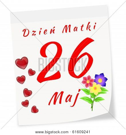 International Mother's Day On May 11 Th. Calendar Page In Polish