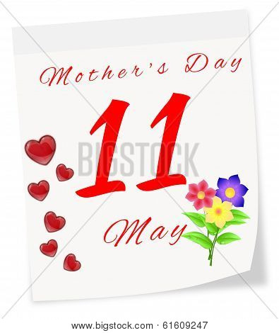 International Mother's Day On May 11 Th. Calendar Page