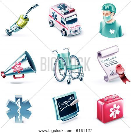 Vector Cartoon Style Icon Set. Teil 25. Medizin