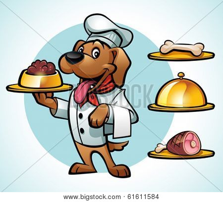 Illustration of a Cute Chef Dog Serving Food