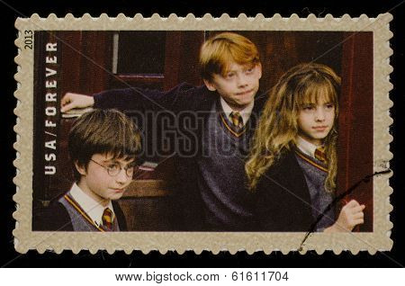 UNITED STATES - CIRCA 2013: postage stamp printed in USA showing an image of Harry Potter, Ron Weasley and Hermione Granger, a Harry Potter main characters, circa 2013.