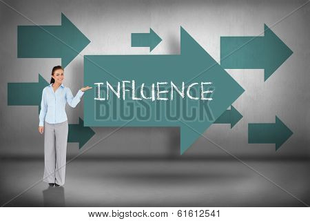 The word influence and businesswoman presenting against blue arrows pointing