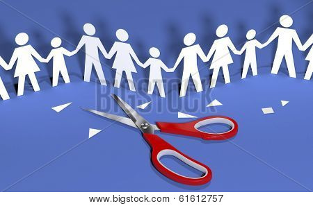 Scissors cut out paper doll chain families to join in social community