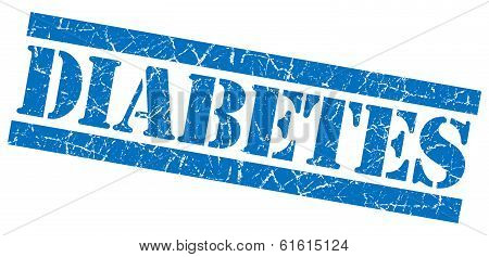 Diabetes Blue Square Grunge Textured Stamp Isolated On White