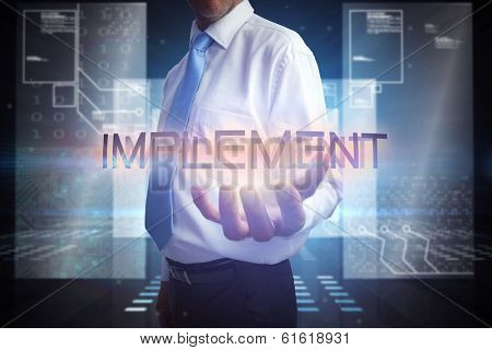 Businessman presenting the word implement against hologram on black background with squares