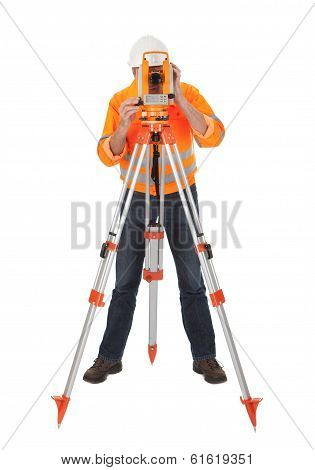 Senior Land Surveyor With Theodelite