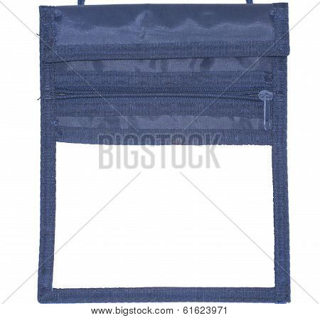 Closeup of a name tag, pocket