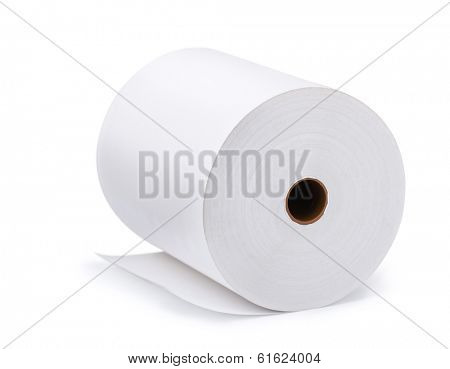 Large roll of blank paper isolated on white