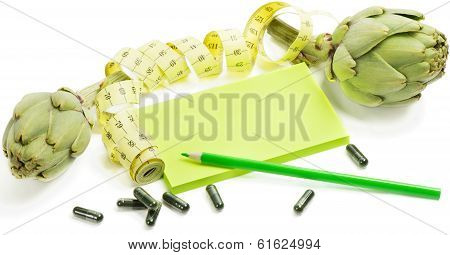 Artichokes  With Measuring Tape  And Dietary Supplement