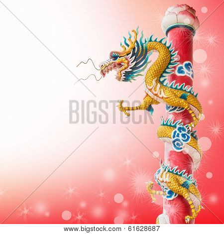 dragon on red background
