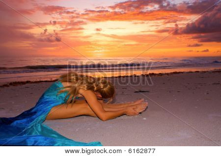Sunset Stretch On Beach