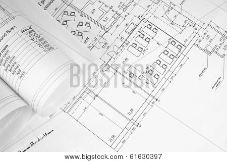 Scrolls of architectural drawings