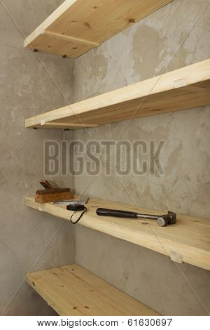 Solid Shelves Made Of Wood In Rural Pantry
