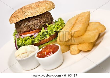 Classic Burger And Chips