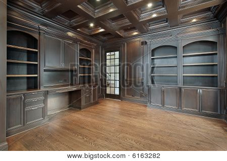 Library With Dark Paneling