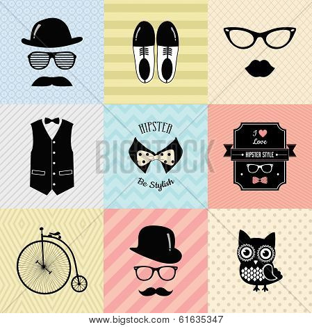 Colorful Retro Vintage Hipster Cute Fashion Background