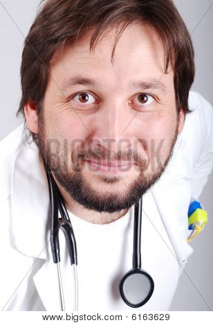 Young Male Doctor With Beard, Closeup