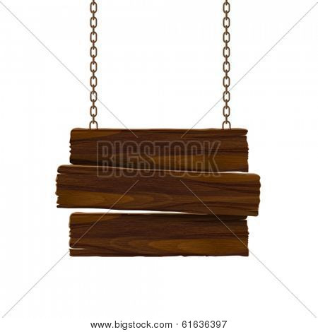 Wooden sign with chain. Vector