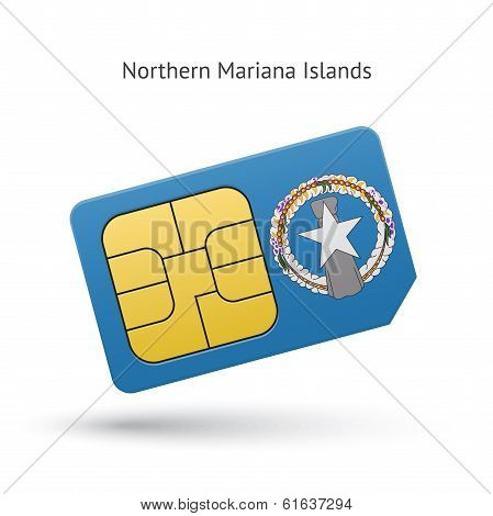 Northern Mariana Islands mobile phone sim card with flag.