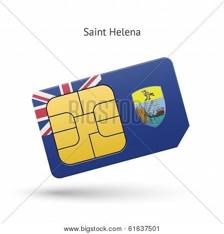 Saint Helena mobile phone sim card with flag.