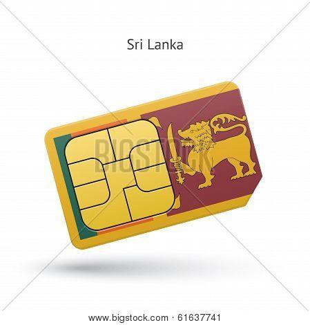 Sri Lanka mobile phone sim card with flag.