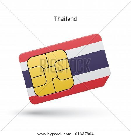 Thailand mobile phone sim card with flag.