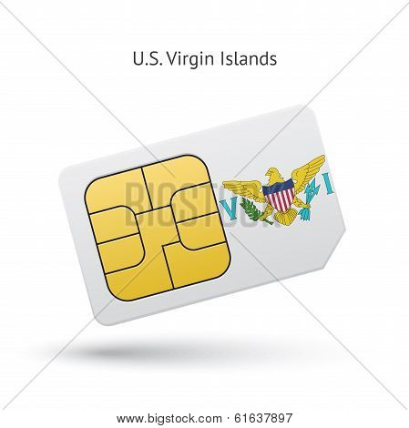US Virgin Islands mobile phone sim card with flag.