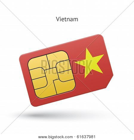 Vietnam mobile phone sim card with flag.