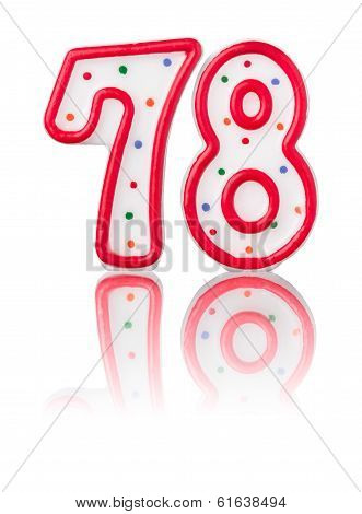 Red number 78 with reflection on a white background