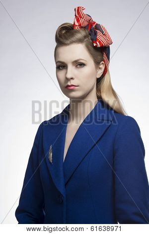 Fashion Girl With Blue Coat