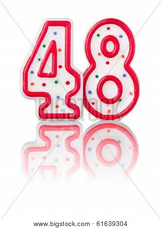 Red number 48 with reflection on a white background