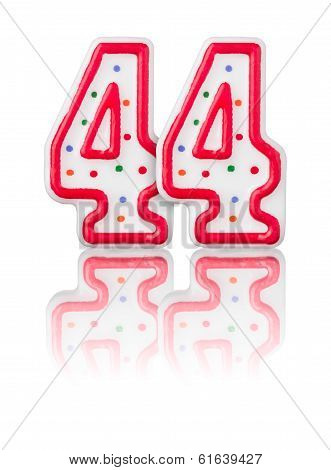 Red number 44 with reflection on a white background