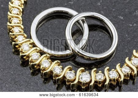 Diamond Necklace And Wedding Bands