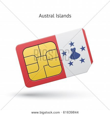Austral Islands mobile phone sim card with flag.
