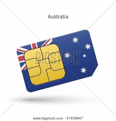 Australia mobile phone sim card with flag.