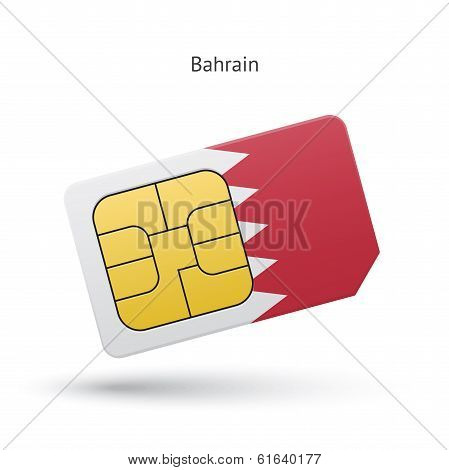 Bahrain mobile phone sim card with flag.