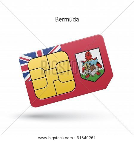 Bermuda mobile phone sim card with flag.