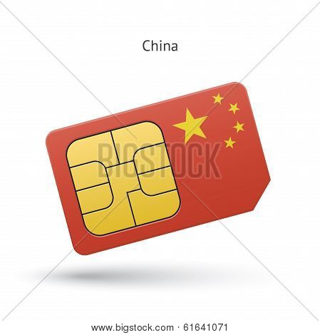 China mobile phone sim card with flag.