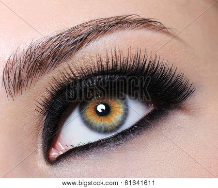 Female eye with bright black make-up and long eyelashes