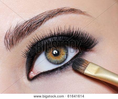 Bright black eye make-up on the close-up shot of female eye - long eyelashes