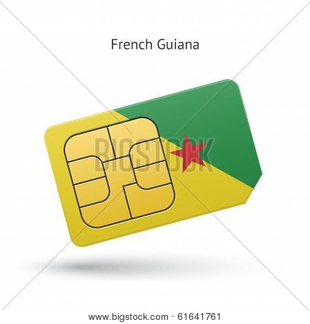 French Guiana mobile phone sim card with flag.