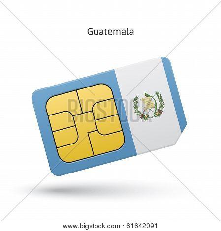 Guatemala mobile phone sim card with flag.