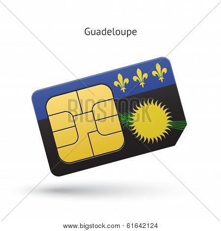 Guadeloupe mobile phone sim card with flag.