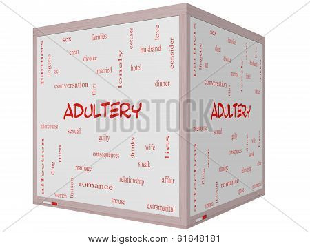 Adultery Word Cloud Concept On A 3D Cube Whiteboard