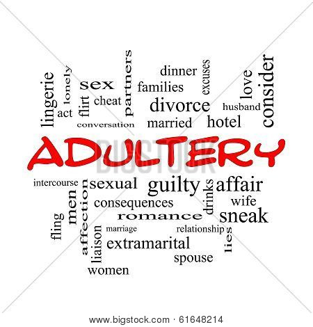 Adultery Word Cloud Concept In Red Caps