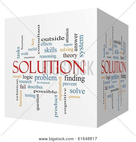 Solution 3D Cube Word Cloud Concept